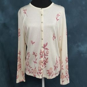 Fred David | Pink Floral Cardigan Sweater | L
